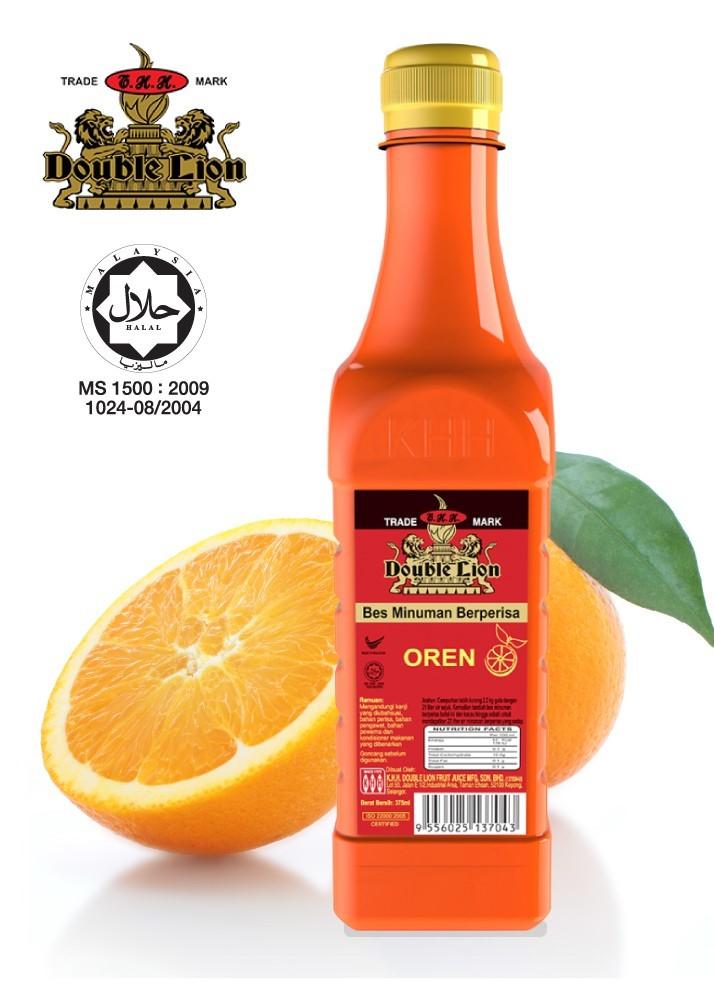 Double Lion Orange Flavoured Concentrated (375ml) Bes Minuman Berperisa Oren 100% Halal Product